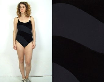 90's vintage women's black velvet one piece swimsuit/swimwear