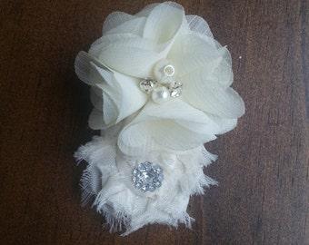 Mini Ivory Chiffon Bridal Hair Clip;Shabby Flower Hair Clip Bride Headband;Flower Girl Headband;Bridesmaid Hair Clip;Engagement