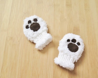 White Baby Mittens with paws - Knitted baby mittens - Ultrasoft white baby mittens