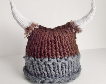 Baby Viking Hat - Knitted Viking Hat - Knit Viking Hat with horns and fur - Choice of color