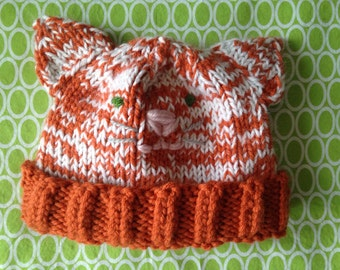 Ribbed Brim Knit Cat Hat