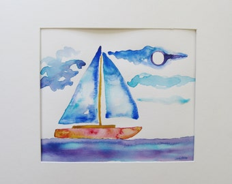 Sailboat watercolor painting, Original sailboat watercolor painting, boy room art