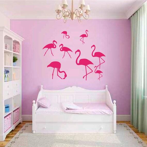 Items Similar To Wall Decals Nature Fauna Flamingo Pink Birds Flock Of Birds Vinyl Decal Sticker