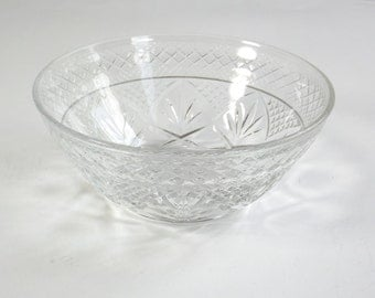 Vintage Cut Glass Bowl Starburst Diamond Pattern Candy Dish Nut Jewelry Trinket What Not Holder