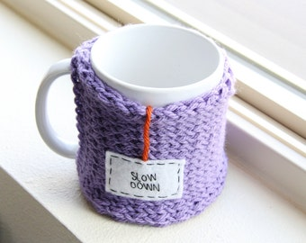 Gifts for Her, Knitted Coffee Mug Cozy, Purple Cup Cosy, Personalized Gifts, Hand Embroidered Tag: Slow Down, Travel Mug Cozy, Coffee Cozy