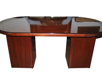 Business Office Mahogany, Glass Top, Oval Pedestal Center Table, Desk, Credenza, PA3368, Shipping Not Free!!!