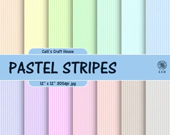 Pastel Stripes Digital Papers - Narrow stripes background - 14 soft pastel backgrounds - Commercial Use - Instant Download