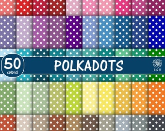 50 Polka Dot Digital Papers - white polka dots on colored backgrounds - pastel-vintage-natural-bright - Commercial Use - Instant Download