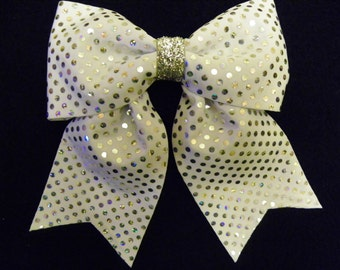 All White Silver Dots Hairbow