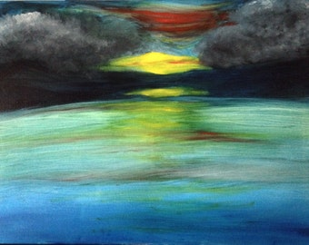 18x24 Oil Canvas Painting sunset landscape