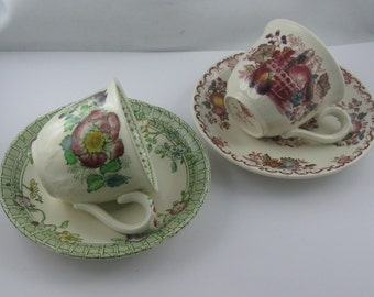 10% OFF. 2 beautiful old mocha cups made of stoneware: Masons Patentironstone Made in England. VINTAGE