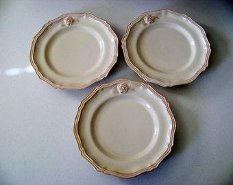 Loucarte Portugal 3 Dinner Plates Raised Rose Design