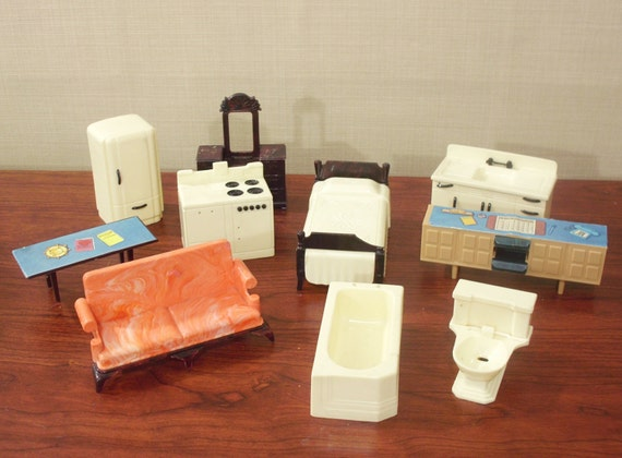 Doll House Furniture Vintage Plastic 50s As Is