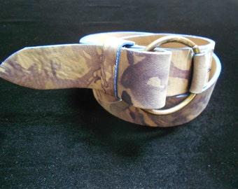 Vintage Leather tie dye belt 70s 80s