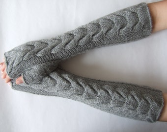 Knitted of ALPACA and WOOL. Soft and warm handmade light GRAY fingerless gloves, wrist warmers, fingerless mittens. Pure wool. Cable gloves.