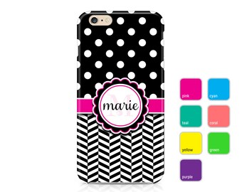 Polka Dot Phone Case, Chevron Phone Case, Black Phone Cover, Monogram Phone Case, iPhone 7, Samsung Galaxy S8