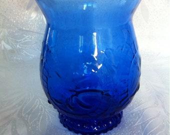 Vintage Pressed Cobalt Blue Glass Vase