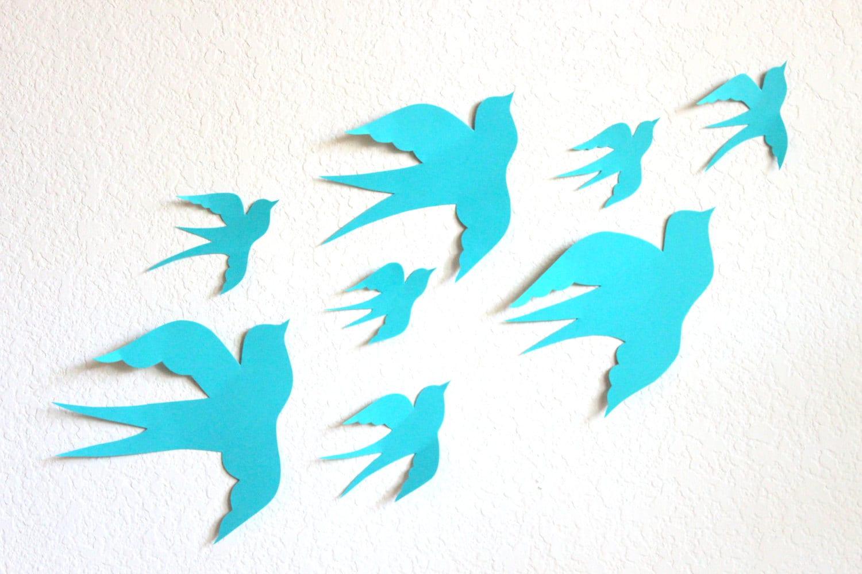 3d Wall Decor Birds : Bird wall art aqua d birds paper