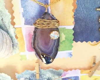 Agate Necklaces with Crystals