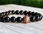 Handmade Yoga Bracelet Black Agate Stone Beads and Pewter-Meditation Beads Prayer Beads Epsteam