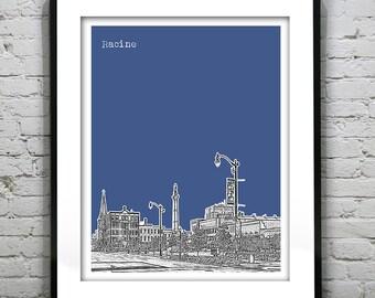 Racine Wisconsin Poster SkylinePrint Art WI
