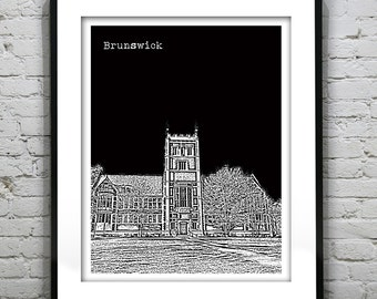 Brunswick Maine Art Print Poster ME Version 2