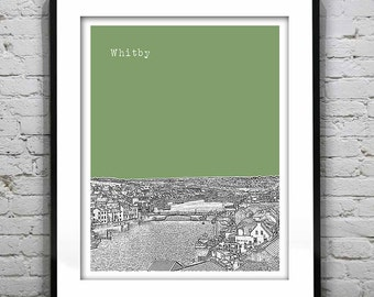 Presidents Day Sale 15% Off - Whitby Skyline Poster Art Print England UK