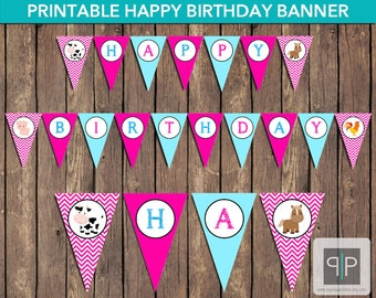 INSTANT DOWNLOAD Farm Animals Birthday Bunting Banner, Printable Farm Girl Banner, Farm Theme Birthday Flags, Girl Pink Farm Birthday Banner
