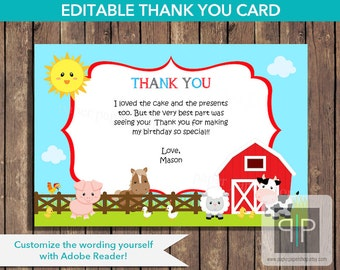 INSTANT DOWNLOAD Farm Animals Birthday Thank You Card, Printable Petting Zoo Thank You Card, Editable Farm Thank You Card, Printable Farm