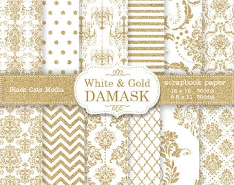 White and Gold Damask Wedding papers, Gold and White Wedding Scrapbook Background, White and Gold Wedding Paper, Instant Download