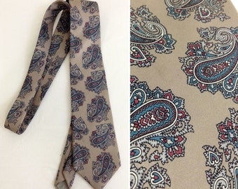 Taupe Blue and Red Paisley Christian Dior Silk Tie
