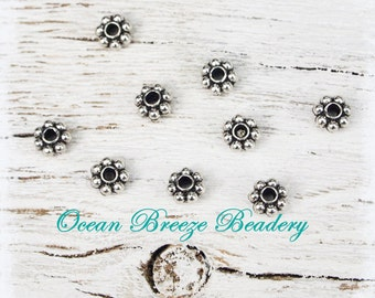 5mm Daisy Spacer Beads  . 100 For You . Antiqued Silver