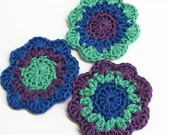 Crocheted motifs, 2 1/2 inches, 3pc., large flower appliques, blue, purple, green patches