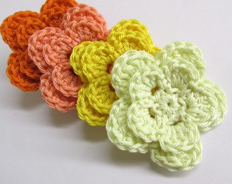 "Crocheted Flower Appliques two layers, large, colorful, 2"" wide, 4pc."
