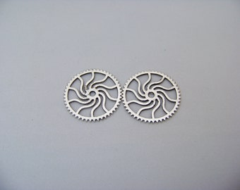 Antique Vintage Silver Round Gear Charms/3460