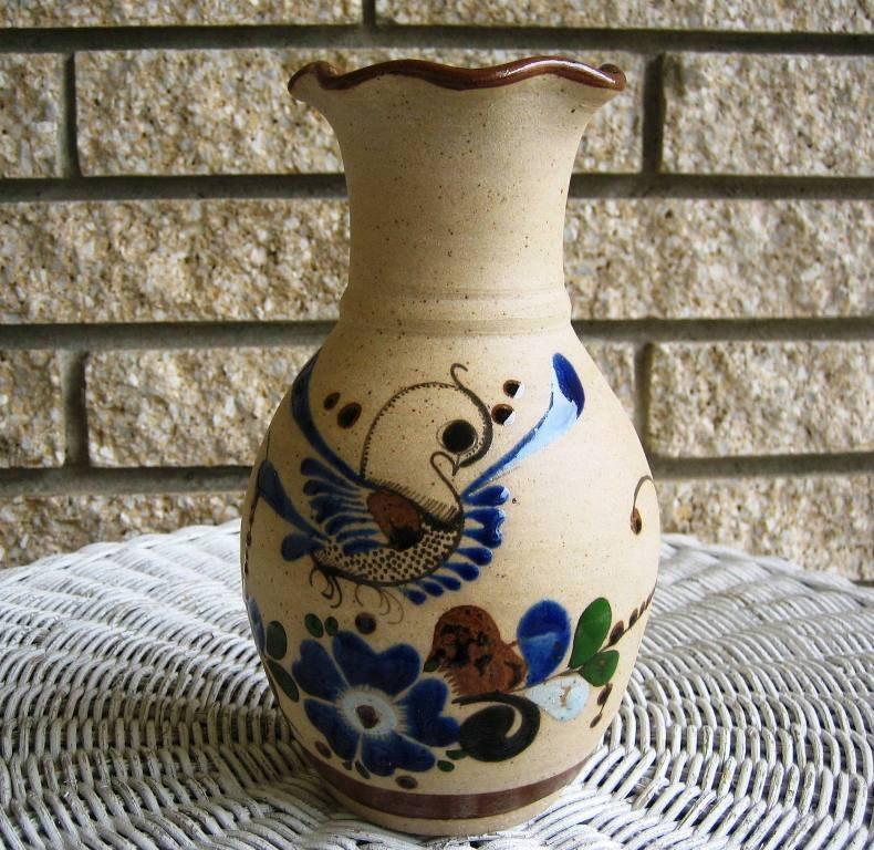Vintage Mexico Stoneware Ceramic Pottery Vase Enameled Bird