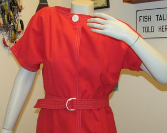 Mod Mad Men Red Dress W/ Belt Size 4
