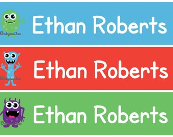 Personalized Waterproof Labels Waterproof Stickers Name Label Dishwasher Safe Daycare Label School Label - Scary Monster