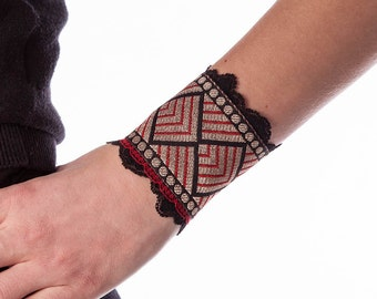 """Gold Bracelet """"INDIE GEOMETRIC RED"""" - Gorgeous Indian Embroidery in Red, Gold and Black - Fabric Cuff Bracelet - Cocolita Design (C084)"""