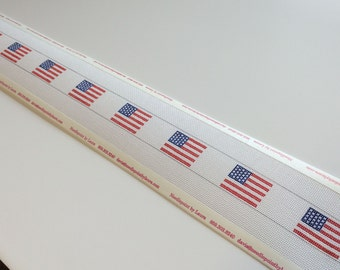 American Flag Needlepoint Belt Canvas with your choice of background color, includes thread
