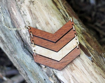 CHEVRON 4 EVER Necklace // Salvaged WOOD Jewelry // Multi Chevron Necklace