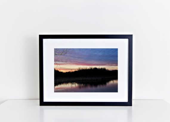 Spring Sunset // marsh, pink sky, purple sky, wall art, home decor, nursery art, nature, landscapes, sunset, sunset photography