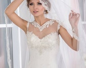 Bridal Veil - Brigh Wedding Embroidered Veil - Cathedral Wedding Mantilla with Embroidery - Traditional Veil - Single Tier Veil