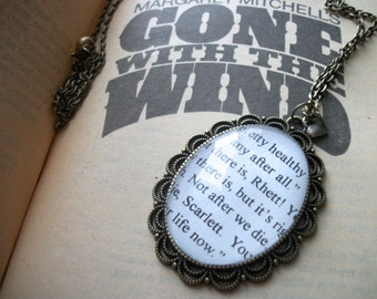Handmade Gone With The Wind Scarlett O Hara, Rhett Butler Antique Bronze Glass Necklace // Margaret Mitchell Book Necklace