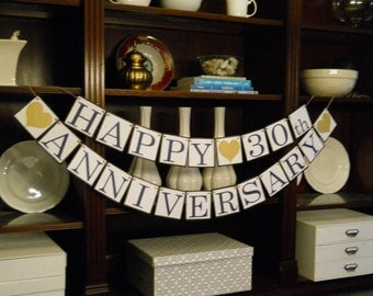 Glitter HAPPY ANNIVERSARY BANNER Choose Your Colors Custom Party Banner Anniversary Sign Anniversary Garland