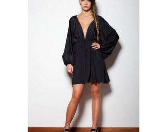 Black Bohemian Hippie Short Kaftan Dress Boho