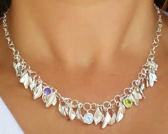 Leaves Silver Necklace ,Gemstones Silver Necklace ,Sterling Silver Necklace ,Blue Topaz Peridot Amethyst Necklace ,Handmade Unique Necklace
