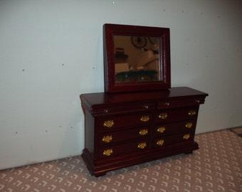 1:12 scale Dollhouse Miniature Dresser w/ mirror Cherry color