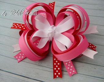 Boutique Hair Bow - pink. red. white