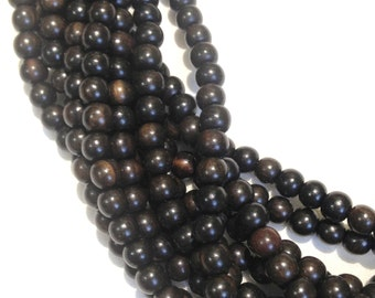 5mm Tiger Ebony Natural Wood Beads 16 inch Strand, 90 Beads